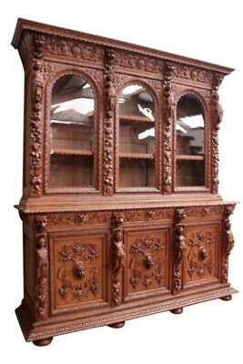 Intricately Carved French Hunt 3 Door Bookcase, 19th Century, Oak