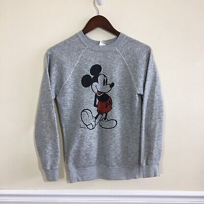 Vintage 80s Mickey Mouse Disney Casuals Tri Blend Gray Sweatshirt - Small