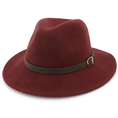 4f37f815b4 LISIANTHUS WOMEN'S 100% Wool Fedora Panama Hat Wide Brim with Belt ...