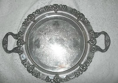 """Antique Magnificent Silver On Copper Reticulated Tray Grapes Theme Hdled 15+"""""""