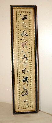 antique 1800's hand embroidery silk ornate Qing dynasty needlepoint tapestry art