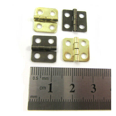 10 x SMALL PLATED MINIATURE HINGES 14mm x 12mm DOLLHOUSE JEWELLERY & CIGAR BOX