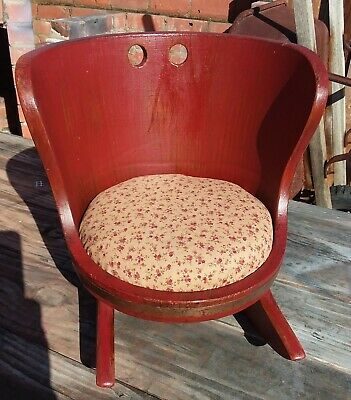Antique red distressed paint wood barrel doll toddler rocking chair padded seat