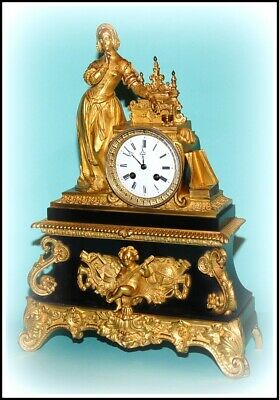 Antique  French Figural Mantel Clock By Japy Freres - We Ship Worldwide