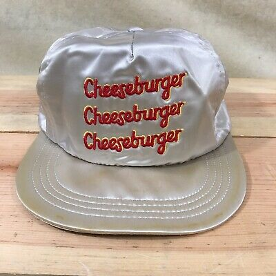 Vintage 90s Gold Metallic Cheeseburger Snapback Trucker Style Hat - USA Made