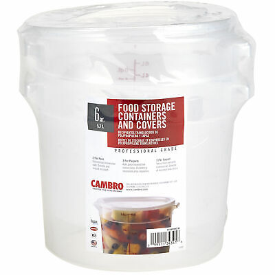 (Two) Six Quart Cambro Round Translucent Food Container With Lid Nsf/Bpa Free