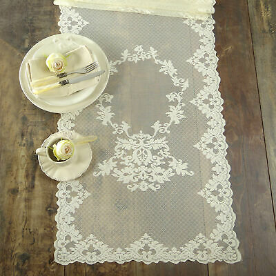 Runner Pizzo Poliestere Shabby chic Poly-Aurore Collection Colore Avorio