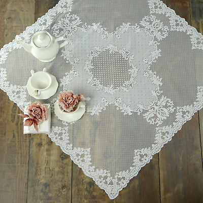 Centrotavola Pizzo Poliestere Shabby chic Poly-Aurore Collection Colore Bianco