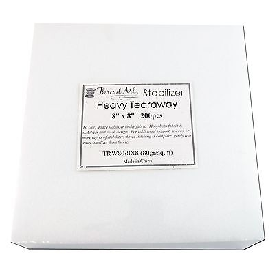 """HEAVY WEIGHT TEARAWAY EMBROIDERY MACHINE STABILIZER BACKING - 200 8""""x8"""" SHEETS"""