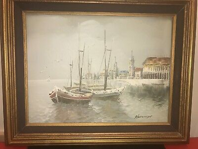 "Original Vintage Signed Oil Painting On Canvas, Framed 21""x17"" Amazing Painting!"