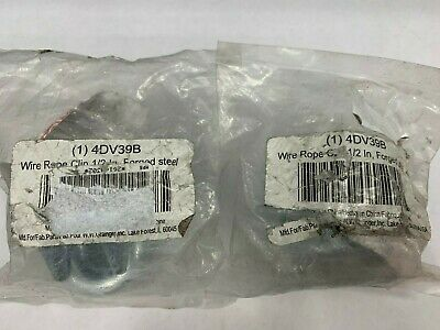 """QTY/2 Unbranded 4DV39B Wire Rope Clip, 1/2"""" Forged Steel"""