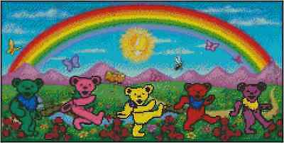 Grateful Dead Dancing Bears w/Rainbow Counted Cross Stitch COMPLETE KIT #23-110