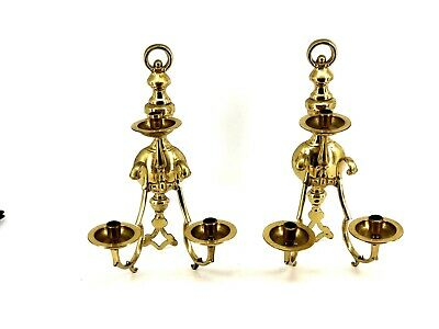 """VINTAGE 3 ARM BRASS WALL SCONCES 18"""" x 10"""" LARGE"""