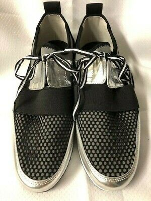 035e38195ed Steve Madden Women s Arctic Silver Cutout Athletic Sneakers Shoes Size 8.5 M