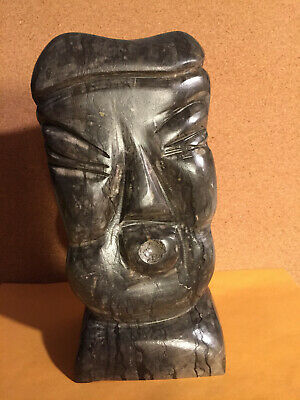 Vintage Hand Carved Stone Abstract Face Sculpture, Asian, Oriental Large 12 lbs