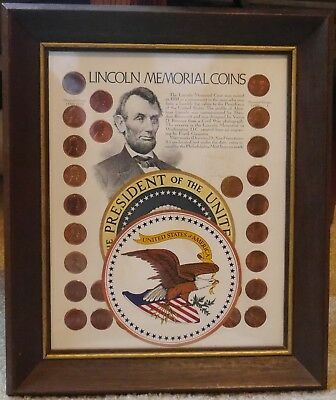 Framed Lincoln Memorial Coins Collection 25 Coins