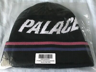 4911a384e61c1 NWT Palace London Men s Black Ferghouse Logo Knit Beanie Hat FW18 DS  AUTHENTIC
