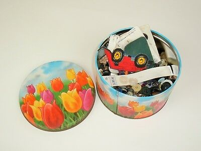 Lot of Vintage Sewing Buttons and misc in Floral Tulips Mr Coffee Tin Container