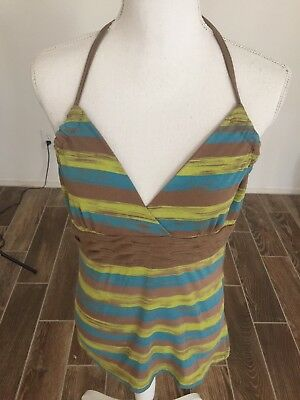SO WEAR IT DECLARE IT Brown/Turquoise/yellow Halter TANK TOP  size L EUC