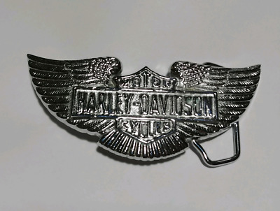 Vintage Harley Davidson Belt Buckle Solid Brass Baron BBB 1978 Chrome Motorcycle