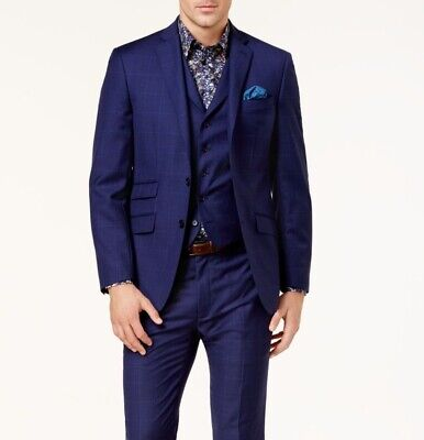 Tallia NEW Blue Mens Size 42 Two Button Windowpanel Wool Suit Jacket $695 138