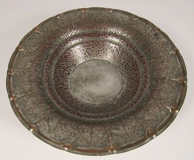 """Vintage MIDDLE EAST Islamic Tin Washed Hand Hammered 10"""" Copper Bowl"""