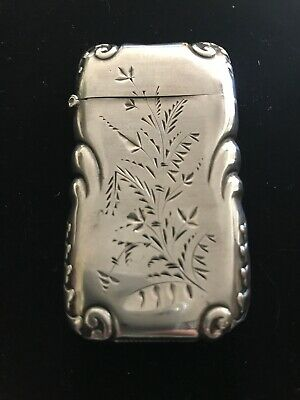 Beautiful Antique Sterling Silver Match Safe Etched Floral Motif