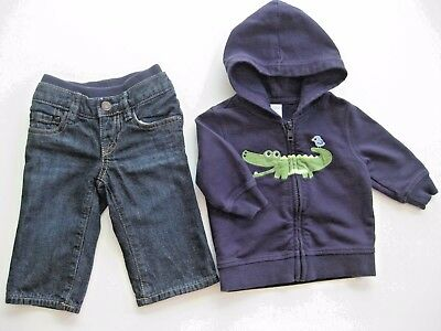 Baby Gap 1969 Lined Jeans & Gymboree Hooded Crocodile Jacket Sz. 3-6 Months