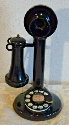western electric bell system rotary dial wired & working candlestick  telephone