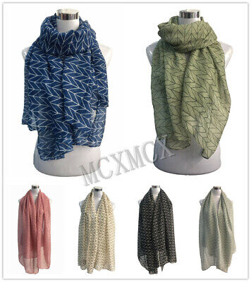 Women Lady Long Fashion Simple Parallel Pattern Shawl Scarf Scarves