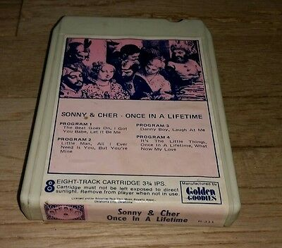 Sonny & Cher Once In A Lifetime 8 track cartridge I Got You Babe Laugh At Me htf