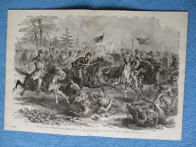 1885 Civil War Print - Cavalry Fight at Yellow Tavern, JEB Stuart vs Sheridan
