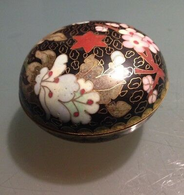 Vintage Chinese Cloisonne ROUND Star Floral Trinket Tea Caddy Box