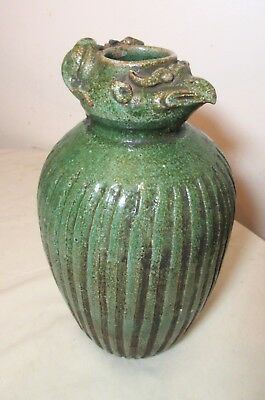 antique 18th century Chinese rat phoenix head green glazed pottery ewer vase jug
