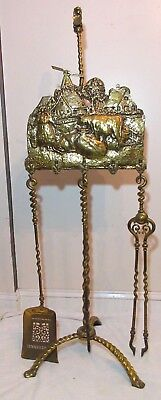 LARGE antique 1800s Dutch farm ornate gilt bronze brass fireplace tool poker set