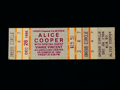 VINTAGE ALICE COOPER 1986 UNUSED CONCERT TICKET VINNIE VINCENT from KISS-MINT