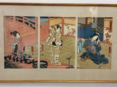 Wonderful Tryptic Woodblock Toyokuni III (Kunisada)