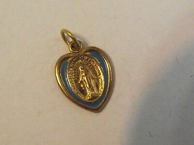 Vtg gold tone blue enamel heart shape Miraculous Virgin Mary medal charm