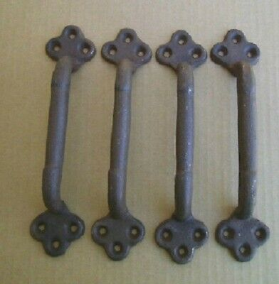 """4 ea Large 9"""" Cast Iron Gate Pull Barn Door Shed Pull Handle Blrown Rust Finish"""