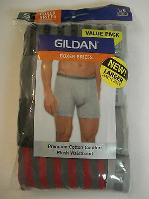 Gildan Men's 5 Pack Boxer Briefs NEW Size Large 36-38 Premium Cotton Comfort
