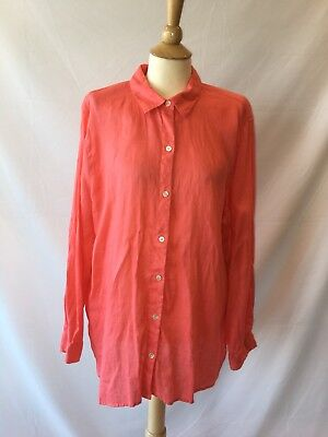 7c6afb64d J. Jill Love Linen Women's Coral Button Down Tunic Shirt Long Sleeve Size  Large
