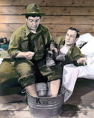 """Bud Abbott & Lou Costello Buck Private 1941 Actors 8X10"""" Hand Color Tinted Photo"""