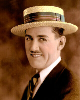 """CHARLEY CHASE COMEDIAN ACTOR SCREENWRITER (hat) 8x10"""" HAND COLOR TINTED PHOTO"""