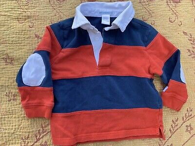 Janie And Jack Toddler Baby Boy's Red Blue Rugby Striped Polo Sz 18-24 Months