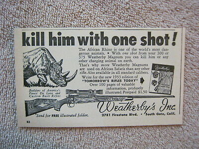 Vintage 1953 Weatherby 300 375 Magnum Hunting Rifles African Rhino Print Ad
