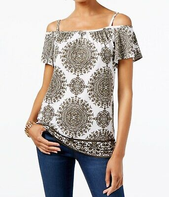 cf7c501af2e30f INC NEW Green White Womens Size XXL Cold-Shoulder Printed Knit Top  59 277