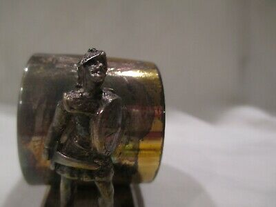Silver plate Victorian Figural Napkin Ring Knight engraved