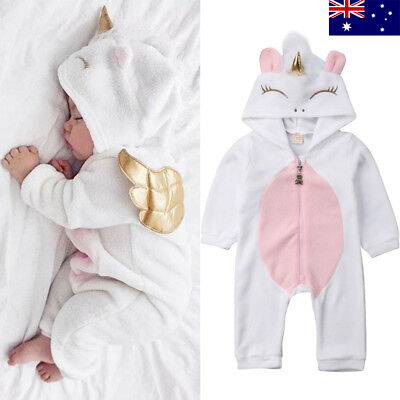 Unicorn Baby Infant Kids Girl Zipper Romper Jumpsuit Outfits Cosplay Costume P