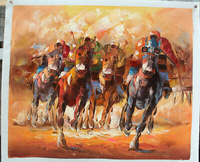 Canvas Hand painted Horse Race Abstract Art Oil Paintings Wall Modern Decor A823