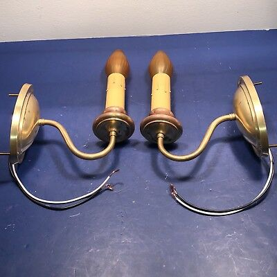 Antique yellow brass wall sconces Pair Newly Wired 28F